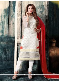 Striking Embroidered Work Off White Churidar Designer Suit