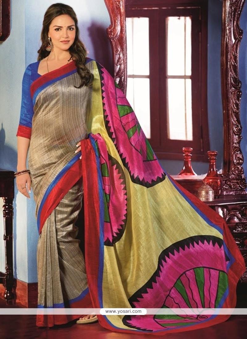 Dazzling Beige Art Silk Saree