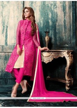 Vivacious Georgette Hot Pink Embroidered Work Designer Suit