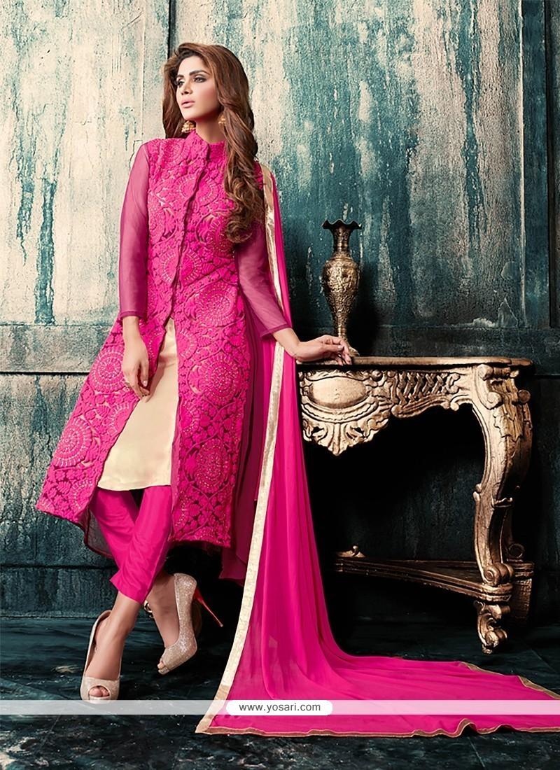 Vivacious Georgette Hot Pink Embroidered Work Designer Suit