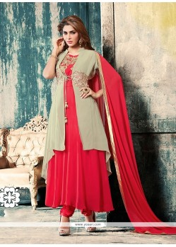Scintillating Pink Anarkali Salwar Kameez