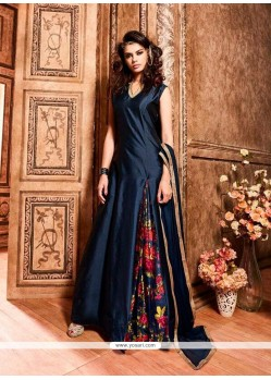 Observable Navy Blue Designer Floor Length Suit