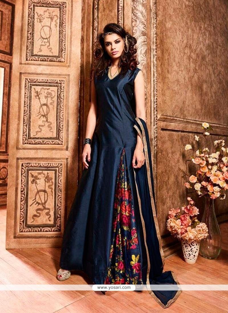 Observable Navy Blue Designer Floor Length Suit