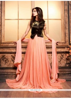 Extraordinary Peach Designer Floor Length Suit