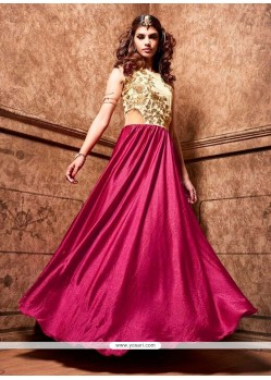 Superlative Satin Magenta Embroidered Work Designer Floor Length Suit