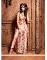Print Silk Designer Suit In Peach