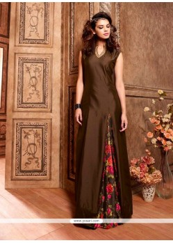 Glossy Brown Silk Designer Floor Length Suit