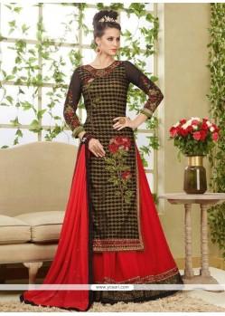 Impressive Net Black And Red Embroidered Work Long Choli Lehenga