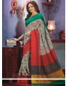 Off White And Maroon Art Silk Casual Saree