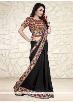 Sensible Black Print Work Georgette Printed Saree