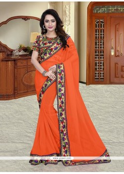 Incredible Georgette Orange Printed Saree