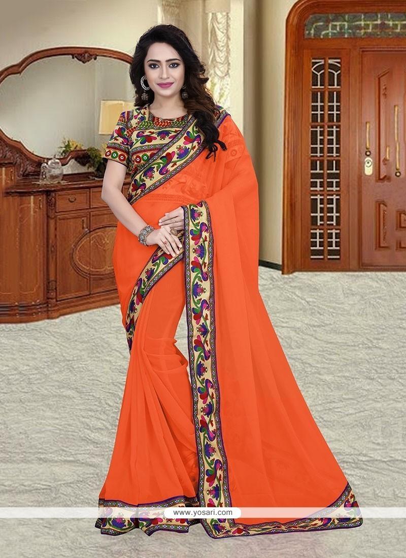 Incredible Georgette Orange Printed Saree