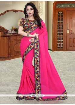 Aristocratic Georgette Hot Pink Printed Saree