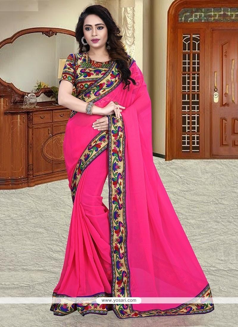 Aristocratic Georgette Hot Pink Printed Saree