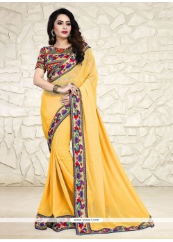 Modernistic Print Work Yellow Printed Saree