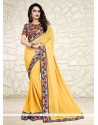 Modernistic Print Work Yellow Printed Saree