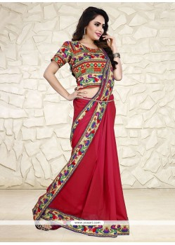 Strange Patch Border Work Printed Saree
