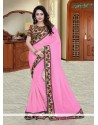Whimsical Pink Patch Border Work Georgette Printed Saree