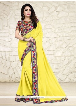 Hypnotic Print Work Yellow Georgette Printed Saree