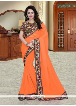 Swanky Georgette Orange Printed Saree