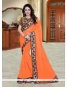 Swanky Georgette Orange Printed Saree