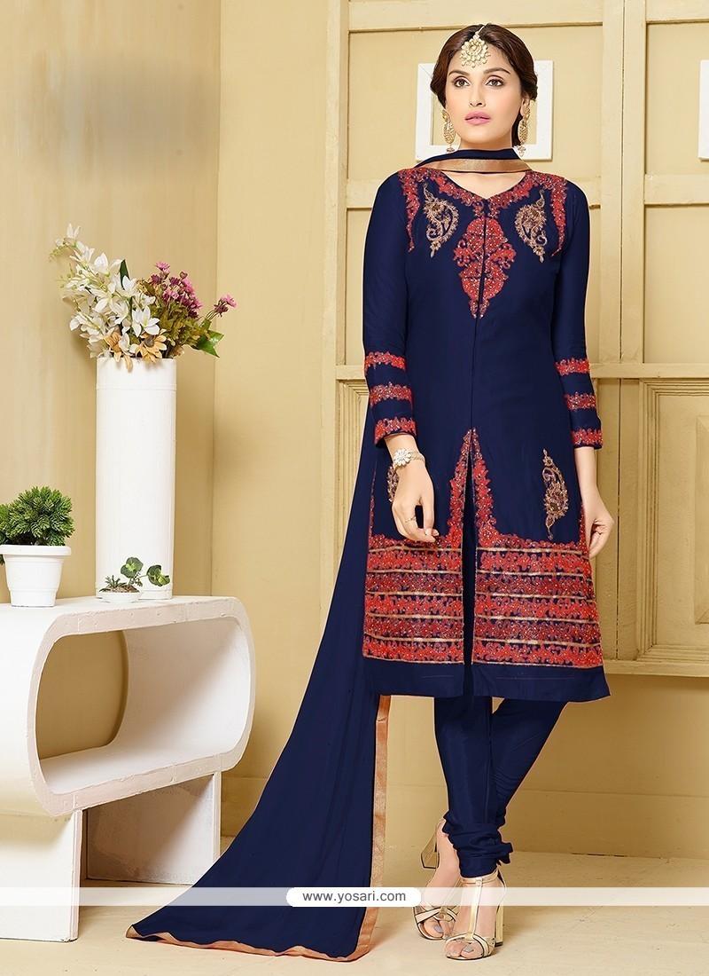 Voguish Embroidered Work Navy Blue Churidar Designer Suit