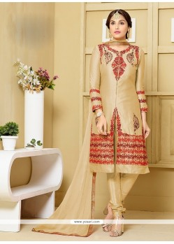 Masterly Resham Work Cream Cotton Churidar Designer Suit