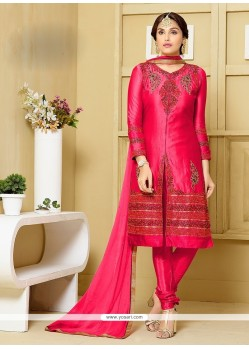 Outstanding Hot Pink Churidar Designer Suit