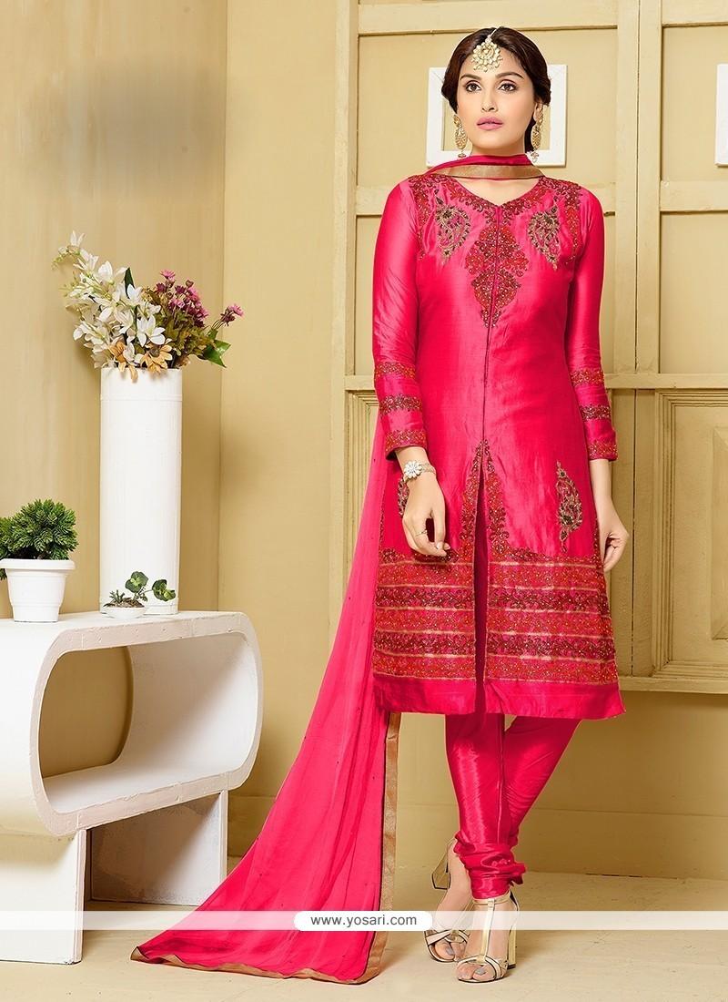 Outstanding Hot Pink Churidar Designer Suit