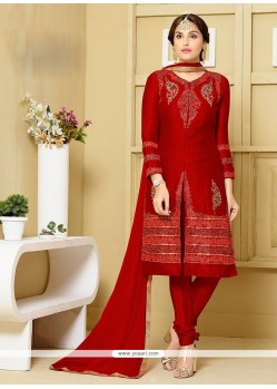 Gilded Red Embroidered Work Churidar Designer Suit