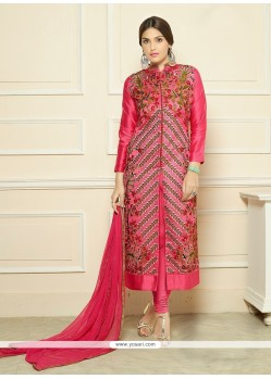 Gleaming Hot Pink Churidar Designer Suit