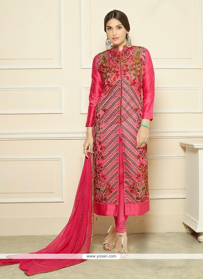Gleaming Hot Pink Churidar Designer Suit
