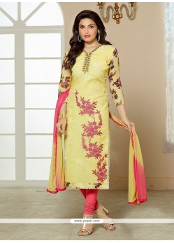 Immaculate Resham Work Cotton Churidar Designer Suit