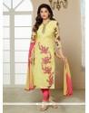 Immaculate Resham Work Cotton Churidar Designer Suit