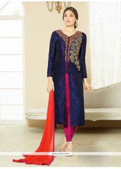 Picturesque Cotton Navy Blue Churidar Designer Suit