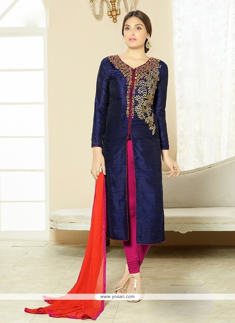 Picturesque Cotton Navy Blue Churidar Designer Suit