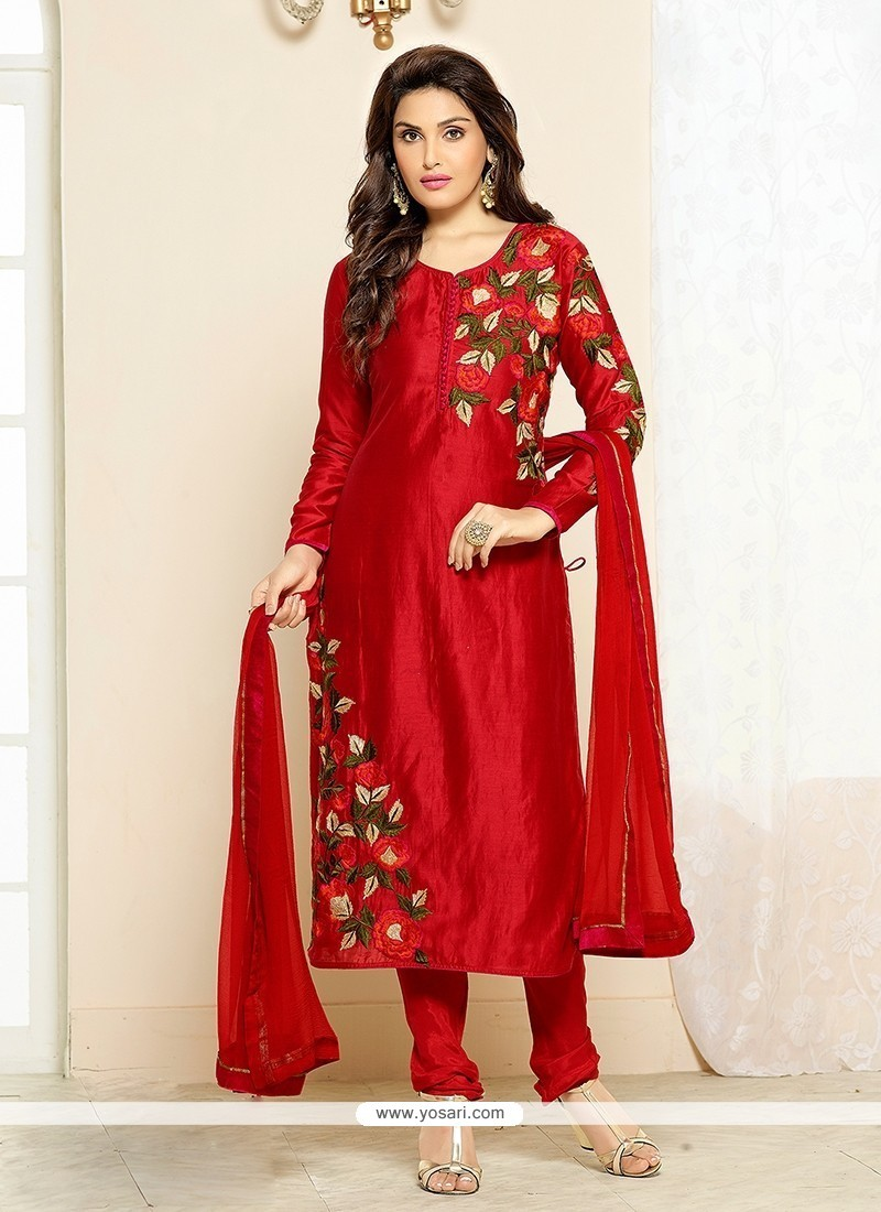 Sumptuous Cotton Red Embroidered Work Churidar Designer Suit