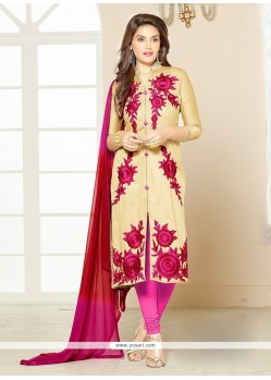 Surpassing Resham Work Cotton Beige Churidar Designer Suit