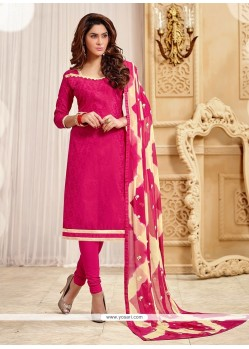Amusing Hot Pink Jacquard Churidar Designer Suit