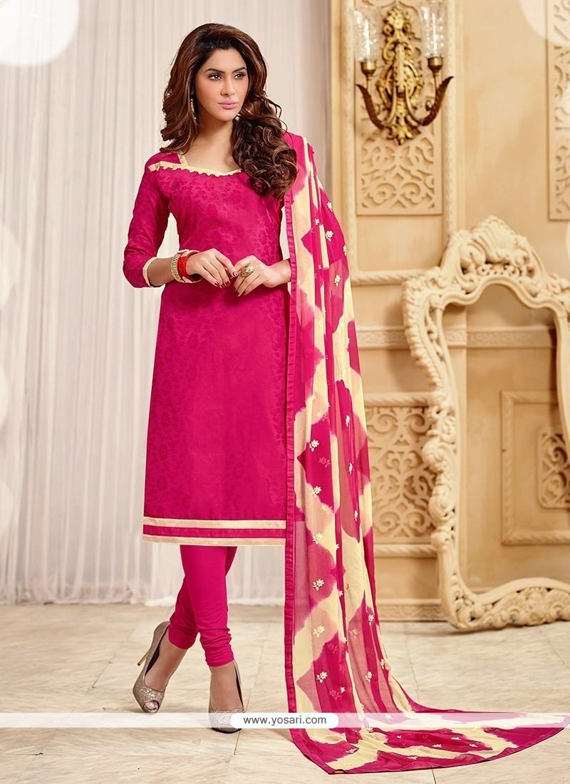 Amusing Hot Pink Jacquard Churidar Designer Suit