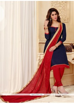 Majestic Jacquard Navy Blue Lace Work Churidar Designer Suit