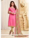 Auspicious Jacquard Pink Lace Work Churidar Designer Suit