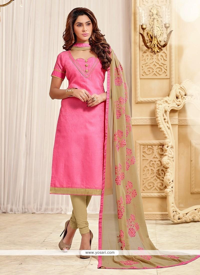 d64c5b8762 Buy Auspicious Jacquard Pink Lace Work Churidar Designer Suit ...