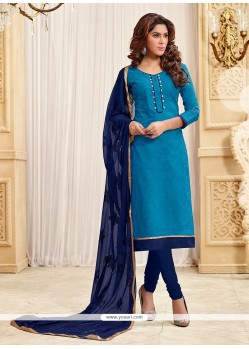Prodigious Blue Churidar Designer Suit