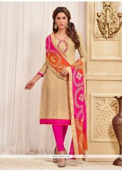 Glamorous Beige Jacquard Churidar Designer Suit