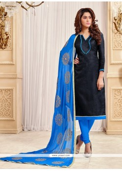 Superlative Blue Lace Work Churidar Designer Suit