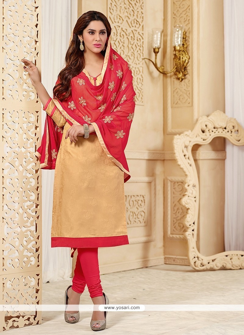 Adorable Jacquard Beige Churidar Designer Suit
