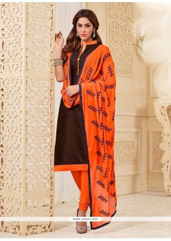 Attractive Brown Churidar Designer Suit