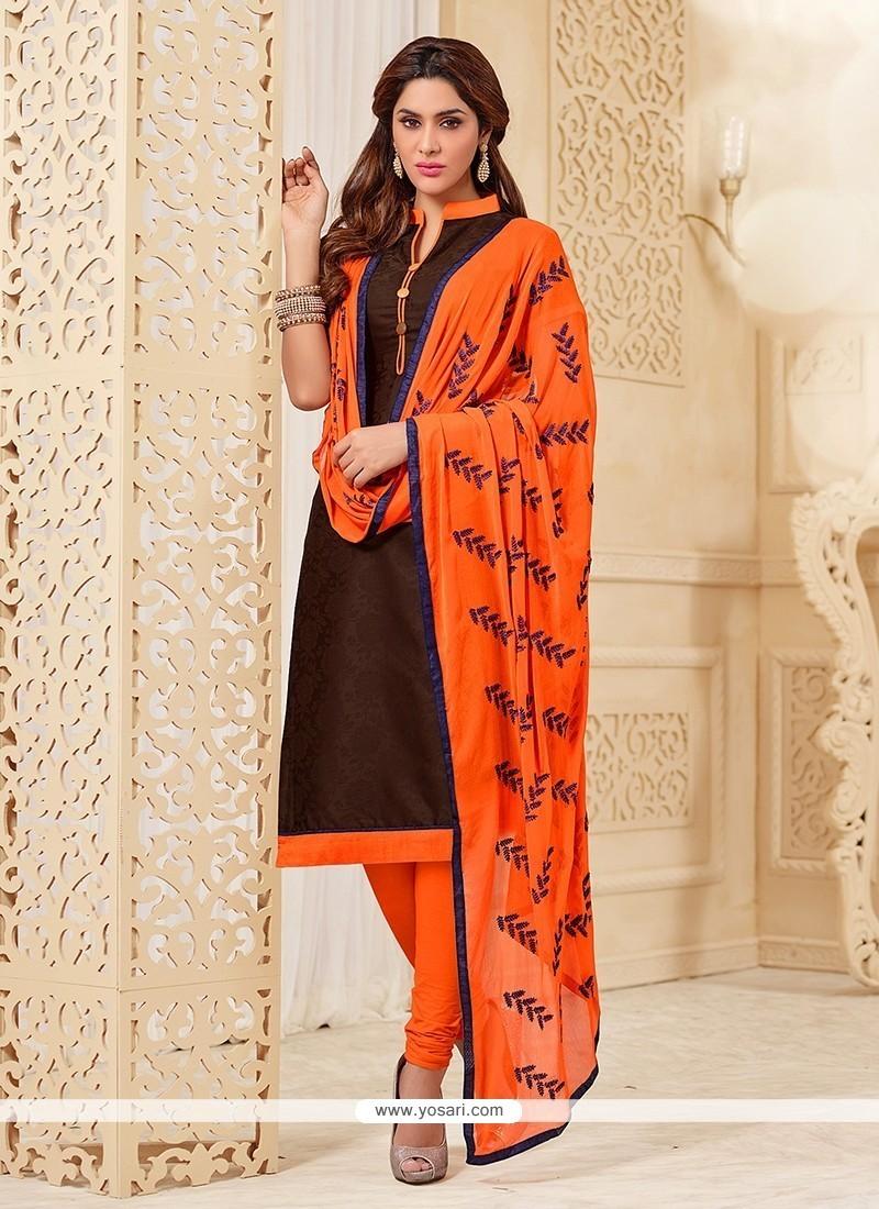 Attractive Brown Churidar Designer Suit