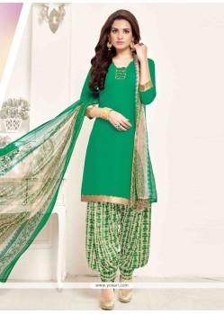 Thrilling Print Work Green Pure Crepe Designer Patila Salwar Suit